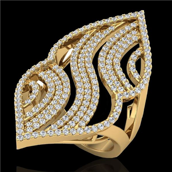 2 ctw Micro Pave VS/SI Diamond Designer Ring 14k Yellow Gold - REF-180G9W