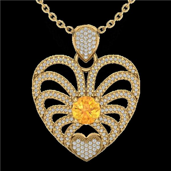 3 ctw Citrine With Micro Pave Diamond Heart Necklace 14k Yellow Gold - REF-127Y3X