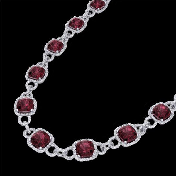 66 ctw Garnet & Micro VS/SI Diamond Eternity Necklace 14k White Gold - REF-881G8W