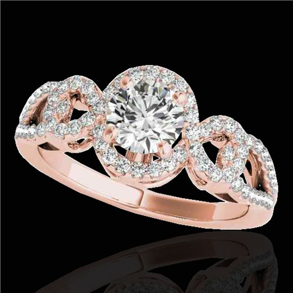 1.38 ctw Certified Diamond Solitaire Halo Ring 10k Rose Gold - REF-188W2H