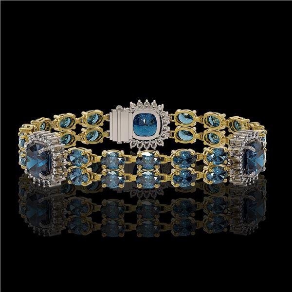 19.57 ctw London Topaz & Diamond Bracelet 14K Yellow Gold - REF-250H8R