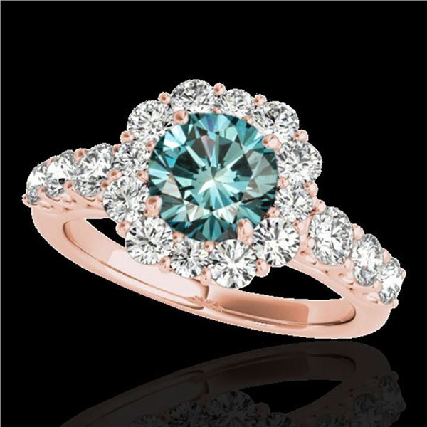 2.9 ctw SI Certified Fancy Blue Diamond Solitaire Halo Ring 10k Rose Gold - REF-228F3M