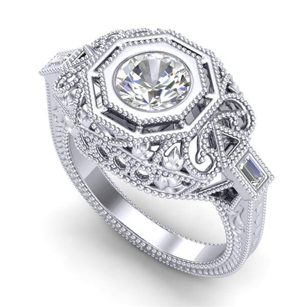 1.13 ctw VS/SI Diamond Art Deco Ring 18k White Gold - REF-360F2M