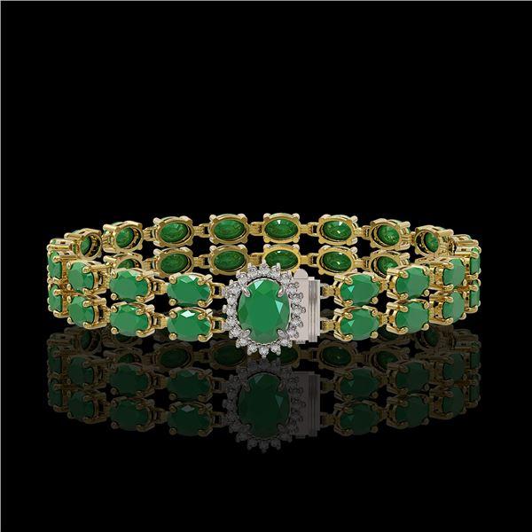 19.57 ctw Emerald & Diamond Bracelet 14K Yellow Gold - REF-263F6M