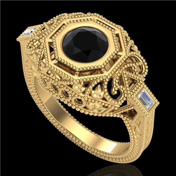1.13 ctw Fancy Black Diamond Engagment Art Deco Ring 18k Yellow Gold - REF-140N2F