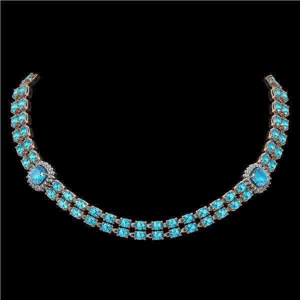 38.95 ctw Swiss Topaz & Diamond Necklace 14K Rose Gold - REF-527W3H