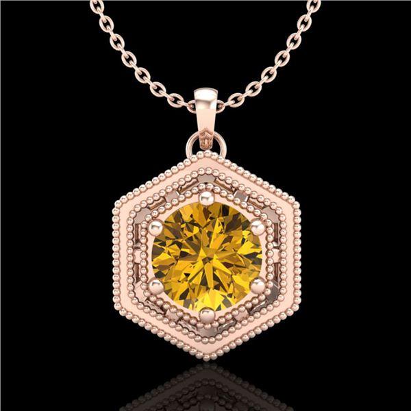 0.76 ctw Intense Fancy Yellow Diamond Art Deco Necklace 18k Rose Gold - REF-94N5F