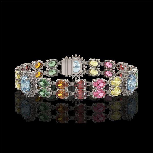 21.1 ctw Sapphire & Diamond Bracelet 14K White Gold - REF-273G3W