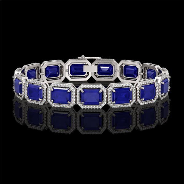38.61 ctw Sapphire & Diamond Micro Pave Halo Bracelet 10k White Gold - REF-392K4Y