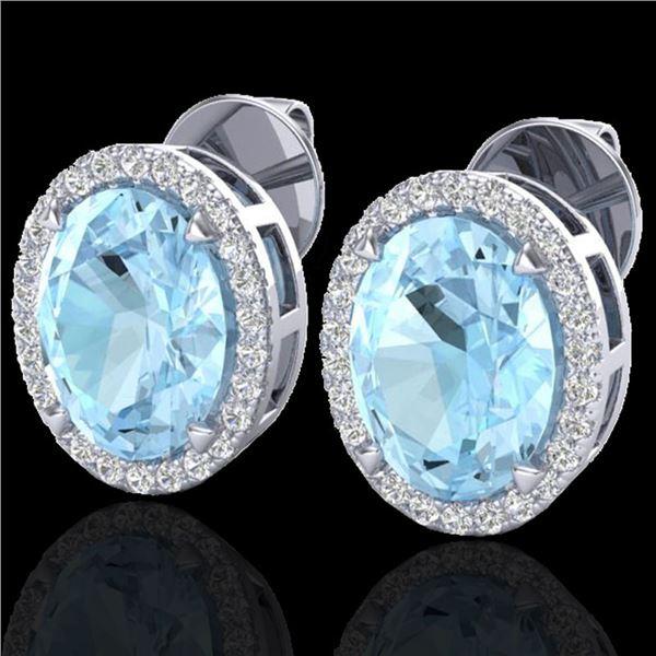 5.50 ctw Aquamarine & Micro VS/SI Diamond Halo Earrings 18k White Gold - REF-96A4N
