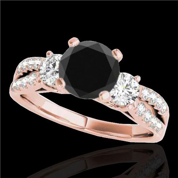 1.75 ctw Certified VS Black Diamond 3 Stone Ring 10k Rose Gold - REF-55A4N