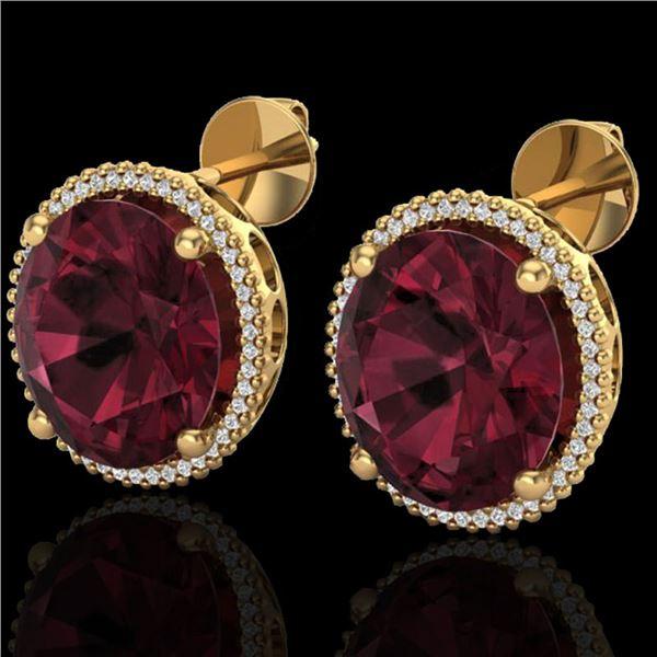 20 ctw Garnet & Micro Pave VS/SI Diamond Earrings 18k Yellow Gold - REF-118N2F