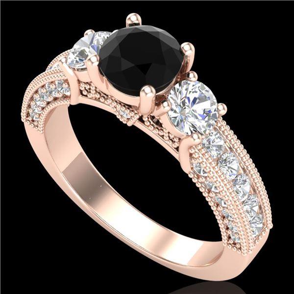 2.07 ctw Fancy Black Diamond Art Deco 3 Stone Ring 18k Rose Gold - REF-200G2W