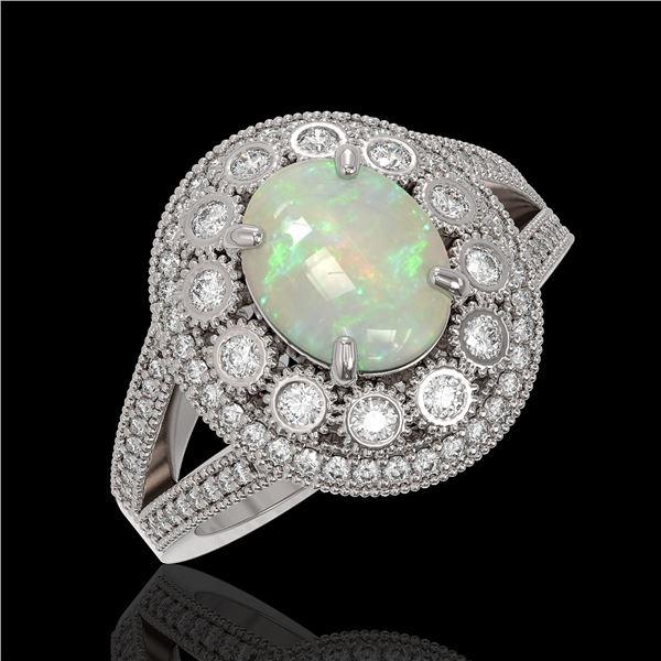 3.93 ctw Certified Opal & Diamond Victorian Ring 14K White Gold - REF-149W3H