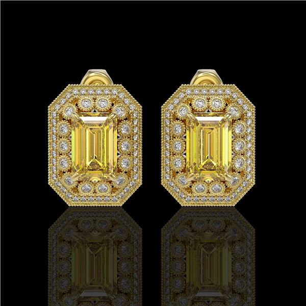11.03 ctw Canary Citrine & Diamond Victorian Earrings 14K Yellow Gold - REF-214Y5X