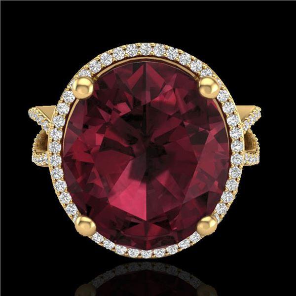 10 ctw Garnet & Micro Pave VS/SI Diamond Certified Ring 18k Yellow Gold - REF-80X2A