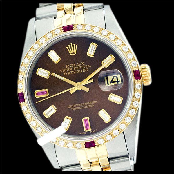 Rolex Men's Two Tone 14K Gold/SS, QuickSet, Diam/Ruby Dial & Diam/Ruby Bezel