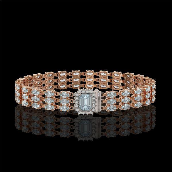 26.02 ctw Sky Topaz & Diamond Bracelet 14K Rose Gold - REF-318R2K