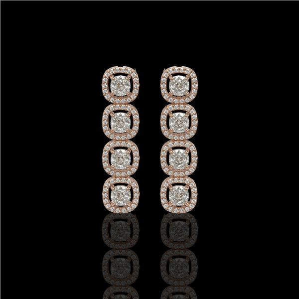 3.84 ctw Cushion Cut Diamond Micro Pave Earrings 18K Rose Gold - REF-337R5K