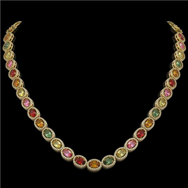 31.96 ctw Multi Color Sapphire & Diamond Micro Pave Necklace 10k Yellow Gold - REF-674N4F