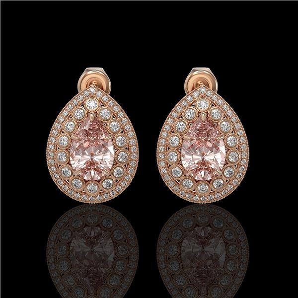 7.94 ctw Morganite & Diamond Victorian Earrings 14K Rose Gold - REF-339A5N
