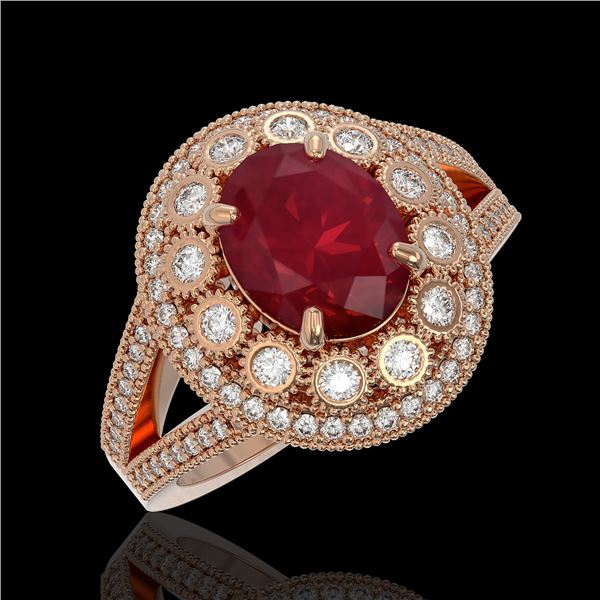 4.55 ctw Certified Ruby & Diamond Victorian Ring 14K Rose Gold - REF-143X6A
