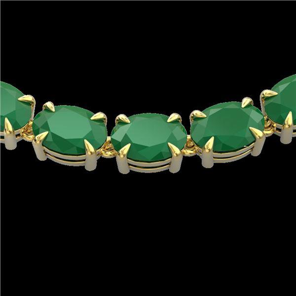 68 ctw Emerald Eternity Designer Necklace 14k Yellow Gold - REF-418H2R