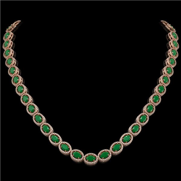 34.11 ctw Emerald & Diamond Micro Pave Halo Necklace 10k Rose Gold - REF-709X3A