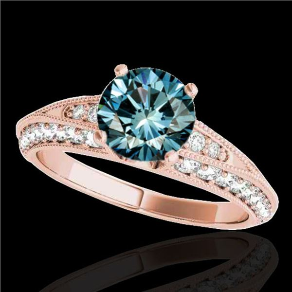 1.58 ctw SI Certified Blue Diamond Solitaire Antique Ring 10k Rose Gold - REF-129N5F