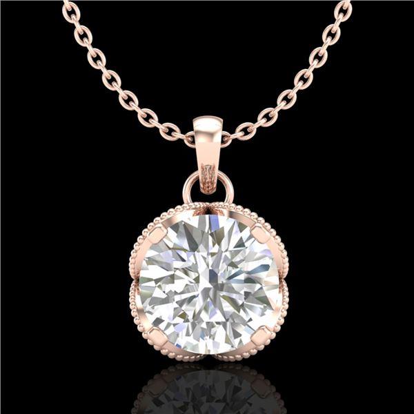 1.13 ctw VS/SI Diamond Solitaire Art Deco Stud Necklace 18k Rose Gold - REF-217G3W