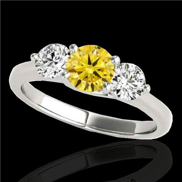 2 ctw SI/I Fancy Intense Yellow Diamond 3 Stone Ring 10k White Gold - REF-300A2N