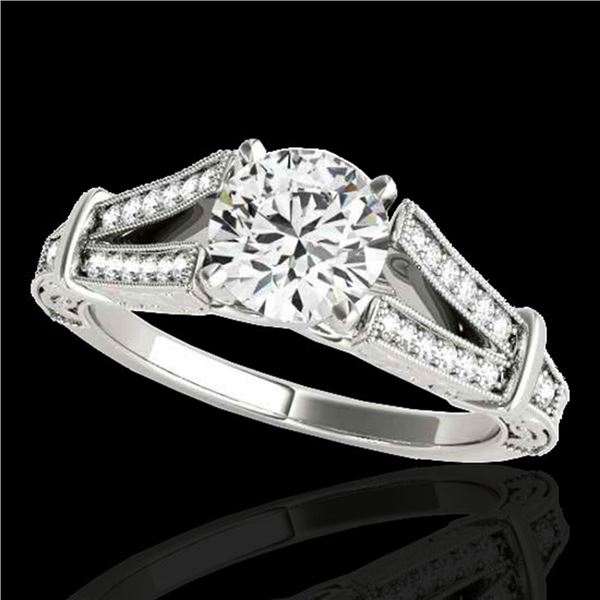 1.25 ctw Certified Diamond Solitaire Antique Ring 10k White Gold - REF-184F3M