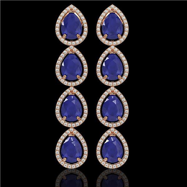 16.01 ctw Sapphire & Diamond Micro Pave Halo Earrings 10k Rose Gold - REF-180X2A