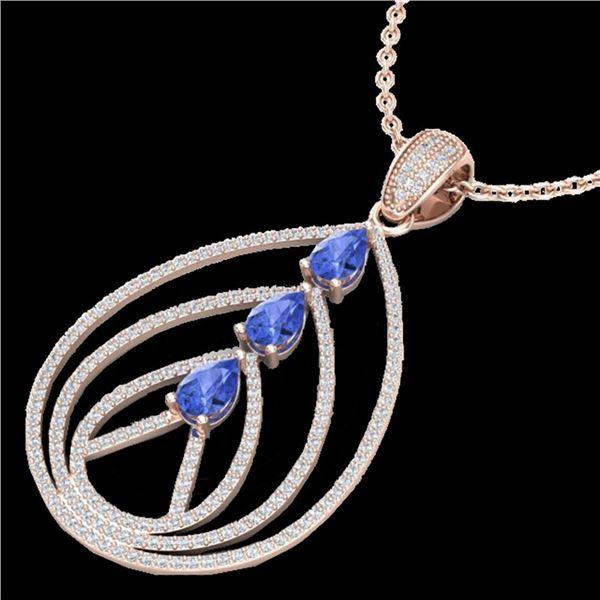 2 ctw Tanzanite & Micro VS/SI Diamond Designer Necklace 14k Rose Gold - REF-163R6K
