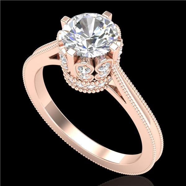1.5 ctw VS/SI Diamond Art Deco Ring 18k Rose Gold - REF-399M3G