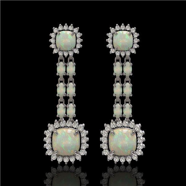 18.06 ctw Opal & Diamond Earrings 14K White Gold - REF-394G8W