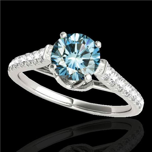 1.46 ctw SI Certified Fancy Blue Diamond Solitaire Ring 10k White Gold - REF-122X8A