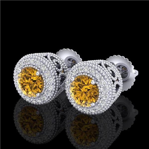 1.55 ctw Intense Fancy Yellow Diamond Art Deco Earrings 18k White Gold - REF-281W8H
