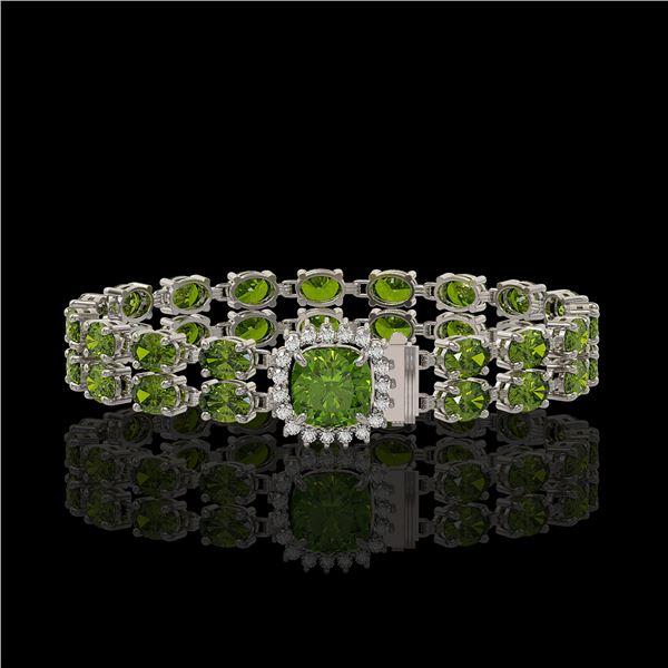 17.35 ctw Tourmaline & Diamond Bracelet 14K White Gold - REF-245H5R