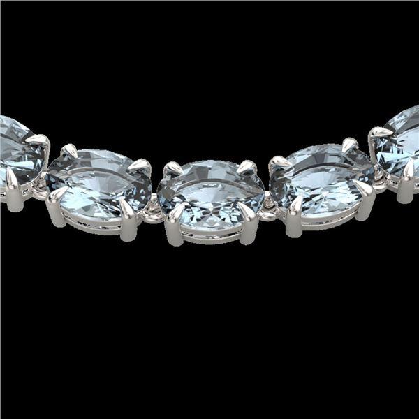 45 ctw Aquamarine Eternity Designer Necklace 14k White Gold - REF-418H5R