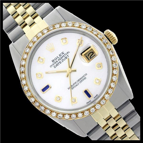 Rolex Men's Two Tone 14K Gold/SS, QuickSet, Diam Dial & Diam/Sapphire Bezel