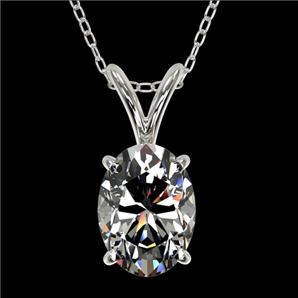1 ctw Certified VS/SI Quality Oval Diamond Necklace 10k White Gold - REF-239G3W
