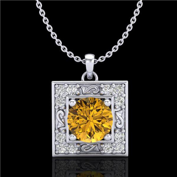 1.02 ctw Intense Fancy Yellow Diamond Art Deco Necklace 18k White Gold - REF-143F6M