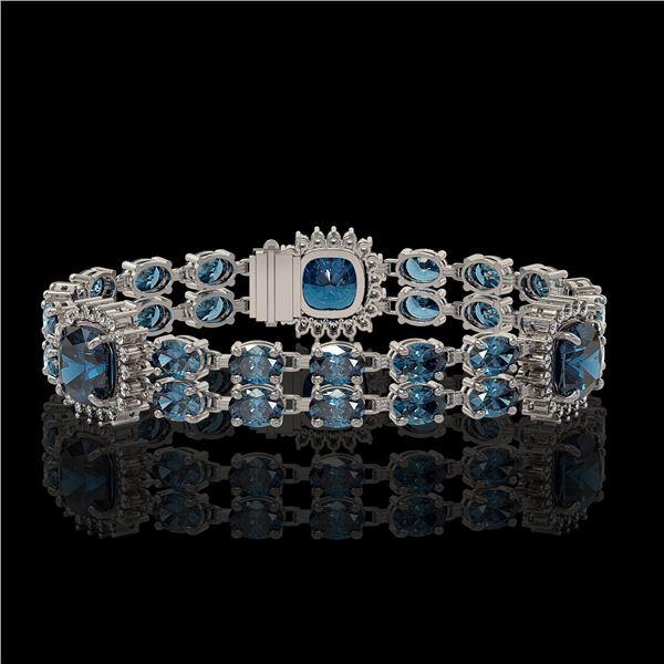 19.57 ctw London Topaz & Diamond Bracelet 14K White Gold - REF-250F8M