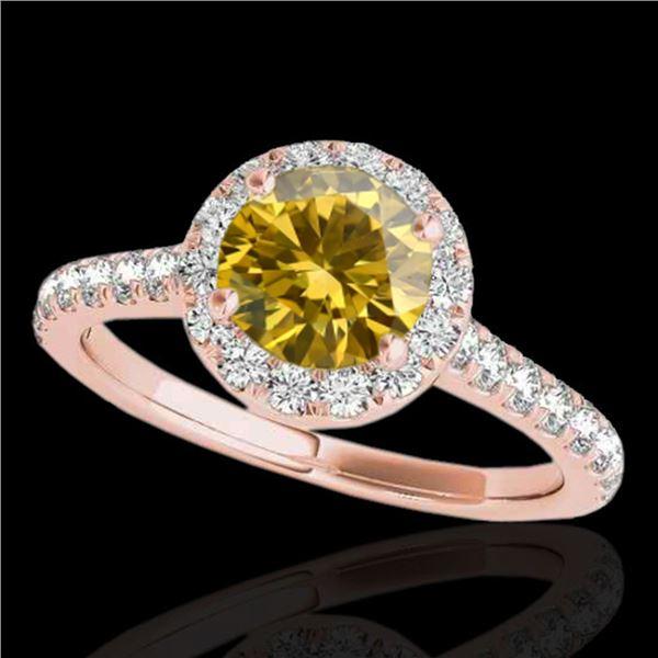 1.70 ctw Certified SI/I Fancy Intense Yellow Diamond Ring 10k Rose Gold - REF-257G8W