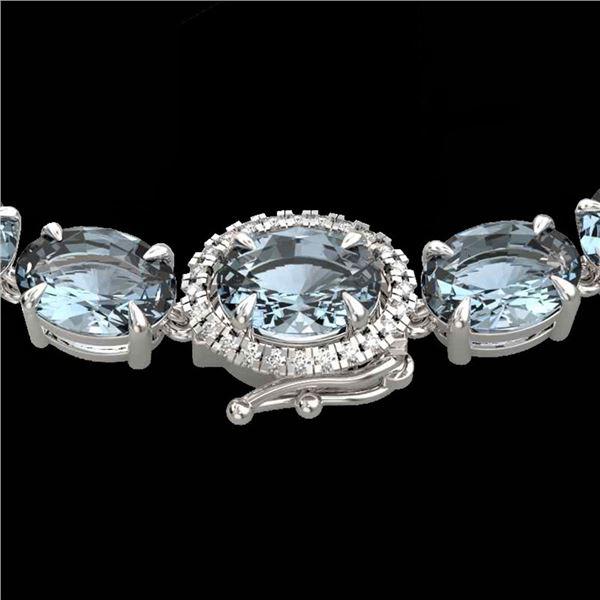 45.25 ctw Sky Blue Topaz & Diamond Micro Necklace 14k White Gold - REF-263H6R