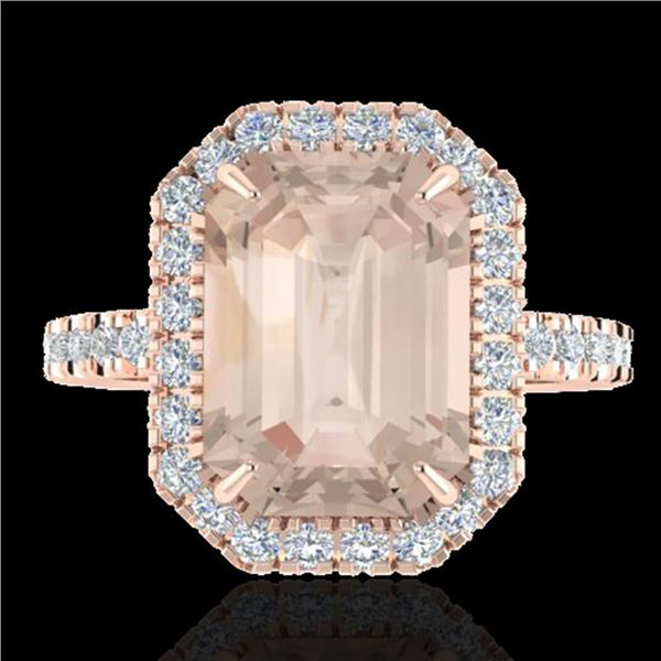 4.50 ctw Morganite & Micro Pave VS/SI Diamond Ring 14k Rose Gold - REF-91X6A