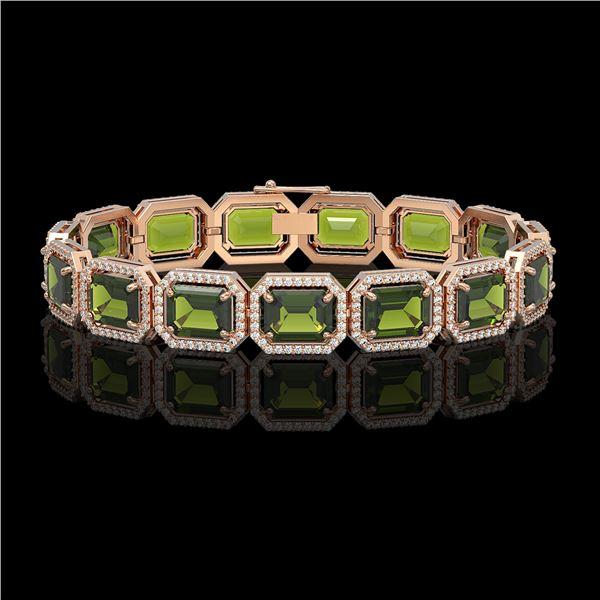36.51 ctw Tourmaline & Diamond Micro Pave Halo Bracelet 10k Rose Gold - REF-477M3G