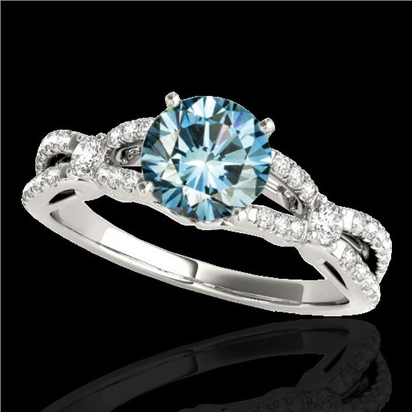 1.35 ctw SI Certified Fancy Blue Diamond Solitaire Ring 10k White Gold - REF-125K5Y