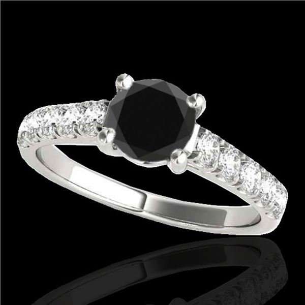 2.1 ctw Certified VS Black Diamond Solitaire Ring 10k White Gold - REF-61M4G